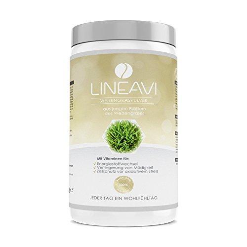 LINEAVI Weizengraspulver | aus jungen Blättern, Weizengras in Rohkostqualität | ideal für grüne Smoothies, Shakes, Suppen, Soßen und Getränke | in Deutschland hergestellt | 400g