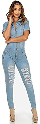 Nueva luz azul vaquero romper Jumpsuit Catsuit Casual Wear Club Wear tamaño M UK 10–12EU 38–40