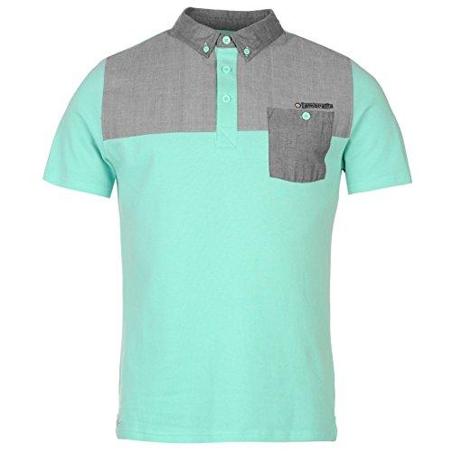 Lambretta Champion Herren Poloshirt T Shirt Polo Tee Top Kurzarm Polohemd Mint Medium (Baseball Kontrast Tee)
