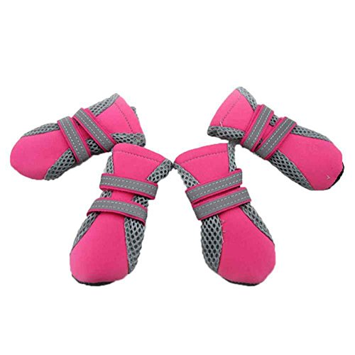 SAMGU Dog pioggia Impermeabile Stivali Scarpe Accessori per Pet Dog color rosa size Medium