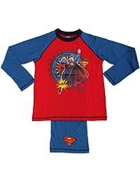 Childrens Boys Superman Long Sleeve Top And Trousers Pyjama Set