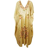 Mogul Interior Women Maxi Caftan Dress Beige Silk Embroidered Lounge Kimono Kaftan One Size
