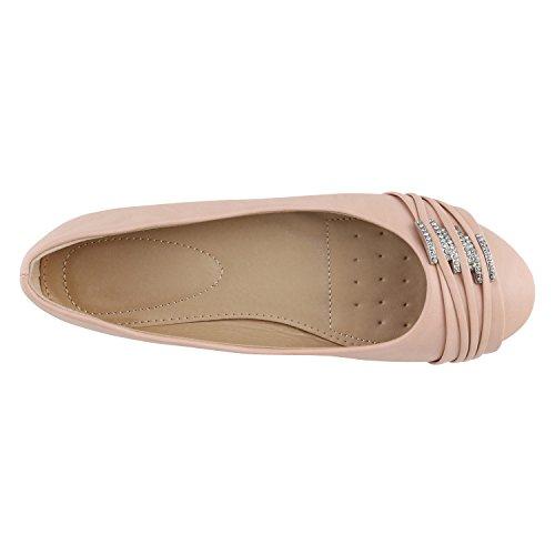 Stiefelparadies Klassische Damen Schuhe Strass Ballerinas Flats Slipper Übergrößen Karneval Fasching Prinzessin Märchen Fee Ballerina Flandell Apricot