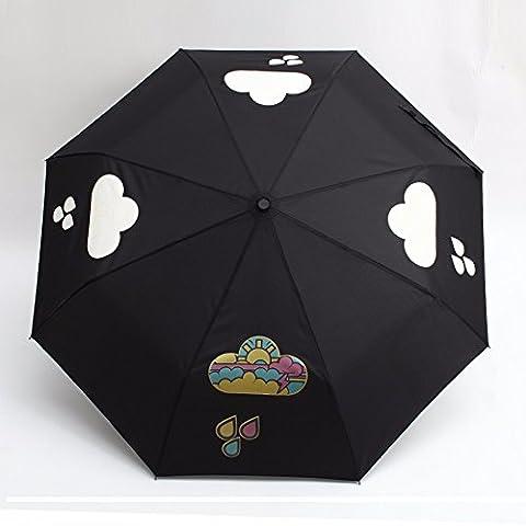 ZHGI Parapluie pliant parapluie 30 % Corée creative umbrella girl parapluie de vinyle ou à double usage pluie Parapluie pliant automatique,Sun Sun double usage