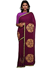 Unnati Silks Women Purple Embroidered Pure Georgette Saree Without Blouse from the Weavers of Punjab(UNM26177)