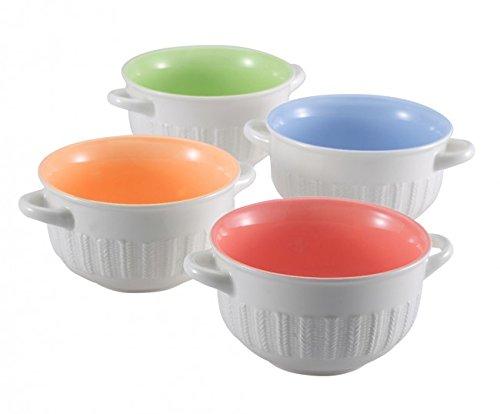 4-tlg. Suppenschalen SET - Keramik - 4 Schalen 500 ml - Dessertschale - Schale - Suppenschüssel - Schüssel - Suppentasse - Müslischalen-Set - Müsli Schale - Müslischüssel