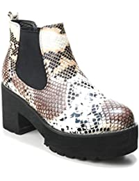 a0e76b897f3c91 HERIXO Damen Schuhe Chelsea Boots Platform Plateau-Sohle Schlangen-Muster  Snake-Print Animal…