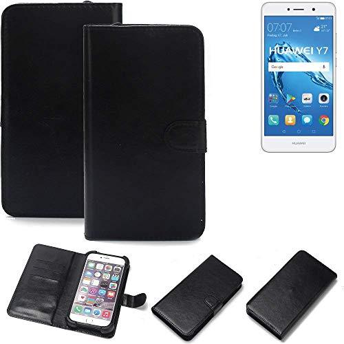 K-S-Trade Wallet Case Handyhülle für Huawei Y7 Dual SIM Schutz Hülle Smartphone Flip Cover Flipstyle Tasche Schutzhülle Flipcover Slim Bumper schwarz, 1x