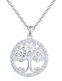 Tree Of Life Necklace With Bezel Set Solitaires, Necklace For Women- By Ornate Jewels