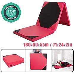 CCLIFE Colchoneta Plegable de Espuma para Gimnasia Yoga Deportiva Yoga estrilla Triple Plegable 180/60/5cm, Color:Negro y Rojo B