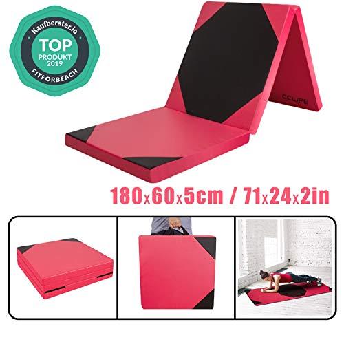 CCLIFE 180x60x5 Klappbare Weichbodenmatte Turnmatte Fitnessmatte Gymnastikmatte rutschfeste Sportmatte Spielmatte, Farbe:3 Elemente, Rot&Schwarz Hexagon