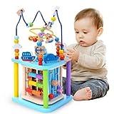 Baobë Würfel Spielzeug für Kinder, pädagogische Perle Labyrinth für Kleinkinder, Sea World 4-in-1 Motorikwürfel Holzspielzeug, Aktivität Würfel Perle Labyrinth (Wasserwelt)