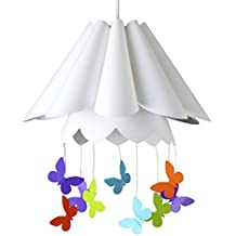 MiniSun – Preciosa pantalla de lámpara de techo con forma de paraguas blanco y coloridas mariposas colgantes
