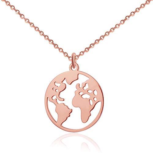 Good.Designs ® Collier avec Pendentif Carte du Monde - Longueur 45 cm - Argent, Or Rose ou Or - Femme (Or Rose)