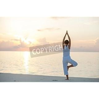 adrium Caucasian woman practicing yoga at seashore(19825741), Canvas, 50 x 30 cm