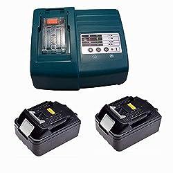 Ladegerät & 2X Akku für Makita BL1830 DC18RA DC18RC [Ladegerät 7.2 V-18V Li-Ion mit Makita BL1830 18 V 3,0 Ah Li-ion]