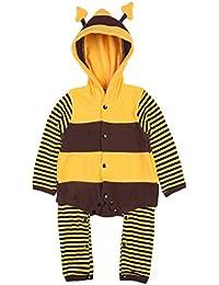 Happy Cherry Unisex Pijama Pajama Disfraz de Insecto Ropa de Una Pieza Moda Mono Suave con Capucha para Bebé Niño Niña Baby Romper Disño Abeja/Mariquita a Elegir