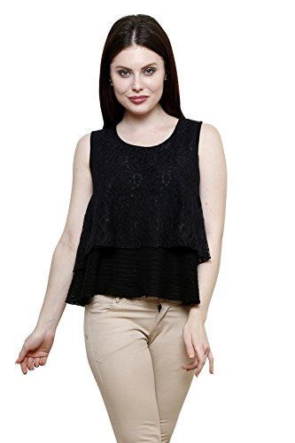 Renka Black Round Neck Striped Lace Crop Tops For Women
