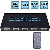 4K@30Hz switch HDMI conmutador, FIveHome 5 Entradas 1 Salida soportan la conmutación automática y control remoto inalámbrico, HDCP1.4,1080P,Full HD/3D