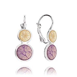 Modern Violett Creme Ohrringe Lila und Elfenbein Schmuck