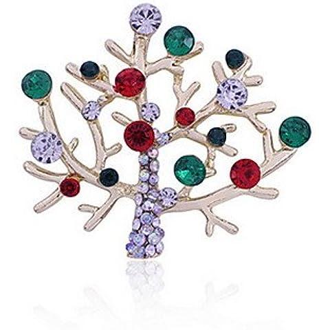 OUYANG las mujeres del árbol de Navidad blanco broches oso polar , white-one size , white-one size