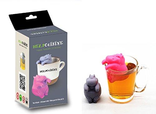 Helpcuisine infusore per tè/filtro per tè, infusore per te e tisane, design simpatico ed originale si adatta a tutte le tazze, silicone 100% alimentare privo di bpa (ippopotamo (grigio e rosa))