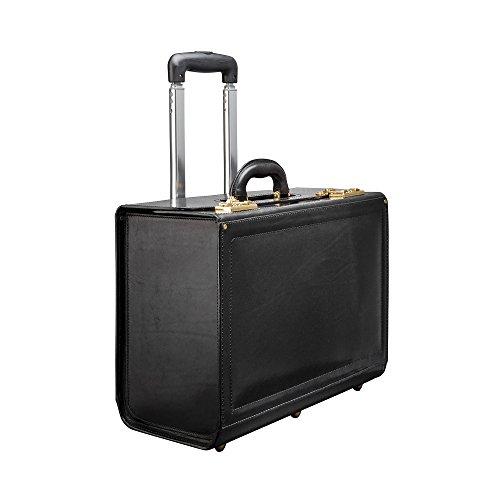 Maxwell Scott® Pilot-Case à roulettes en Cuir Italien - Noir (VareseW)