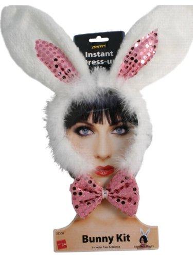 Bunny pink Häschen Ohren Fliege Hasenpuschel ()