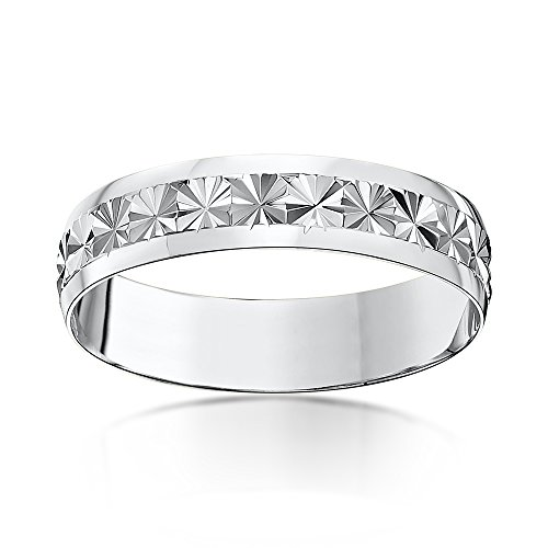 Theia Heavy Weight D-Shape Star Centre Design 9 ct White Gold Wedding Ring,5 mm – Size P