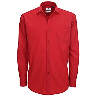 B&C Mens Smart Long Sleeve Poplin Shirt / Mens Shirts (L) (Deep Red)