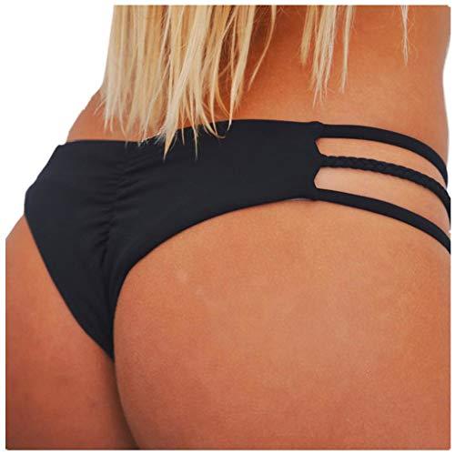 Dorical Damen Bikinihose Bikinislip Panty Bikini-Hose Seitlich Hohl/Frauen Badehose Tanga String Rüschen Brazilian Sexy Bikini Slip Schnüren Höschen Unterwäsche Schwimmhose(Schwarz,Small) -