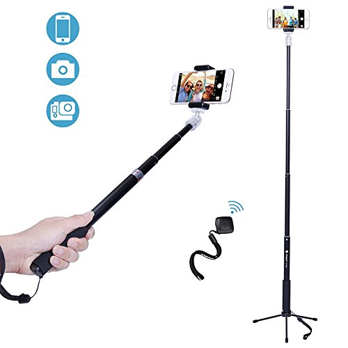 Fotopro Bastoni Selfie e Mini Treppiede 2-in-1, iPhone Treppiede e Mini Treppiede Set Selfie Stick, Adattatore Mobile Phone, Bluetooth Remote Shutter per Gopro, iPhone,Samsung ed Altri Telefoni …