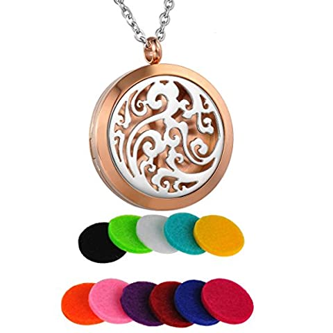 HooAMI Aromatherapy Essential Oil Diffuser Necklace Stainless Steel Clouds Fragrance