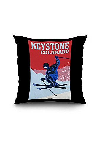 Keystone, Colorado - Colorblocked Skier (18x18 Spun Polyester Pillow Case, Black Border)