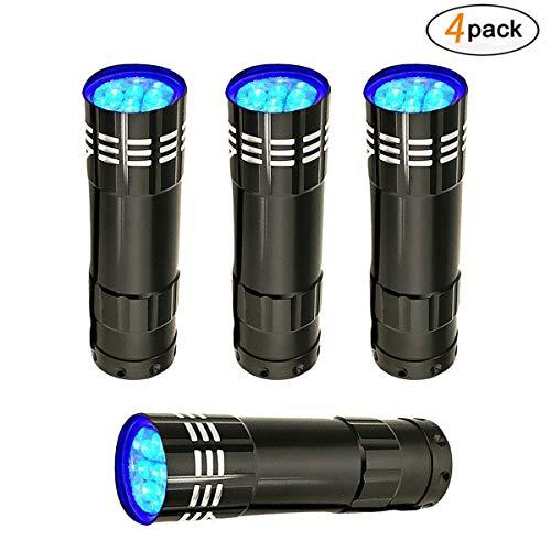 Linterna LED UV, DDSKY 4-Pack Ultra-Bright 9 LED linterna
