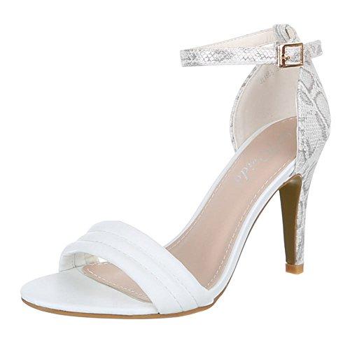 Damen Schuhe, JL1588, PUMPS HIGH HEELS SANDALETTEN Weiß