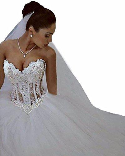 Changjie Damen Schulterfrei Brautkleid Prinzessin Luxus Kristall Perlen T¨¹ll Brautkleid...