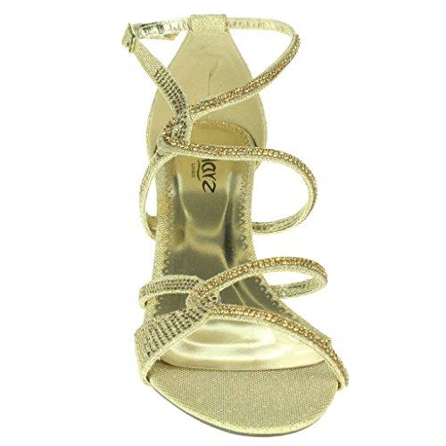 Frau Damen Diamante verschönert Eingesperrt Mittlere Absatz Abend Party Hochzeit Abschlussball Sandalen Schuhe Größe Gold