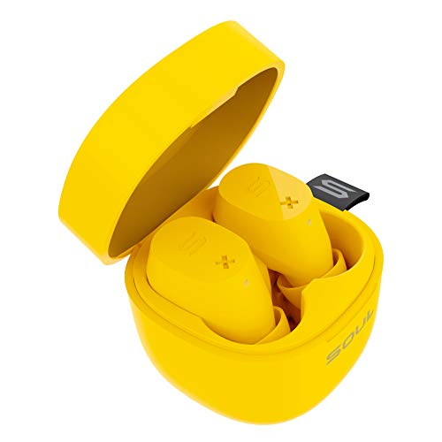 SOUL ELECTRONICS ST-XX IPX4 wasserdichte feine kabellose Bluetooth 5.0 Kopfhörer Lieferung mit Tragbares Ladebox, Zitronengelb
