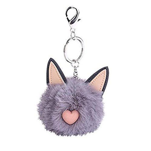 jinzhicheng grau Cartoon Katze Ohren Süße Hairball flauschig Ball Anhänger Tasche Auto Schlüsselanhänger (Flauschige Tasche Handtasche)