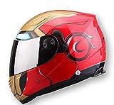Henpooseng Cascos Iron Man Racing Casco de Motocicleta de Cara Completa Araña Lente Doble Casco Moto Wolverine Red M