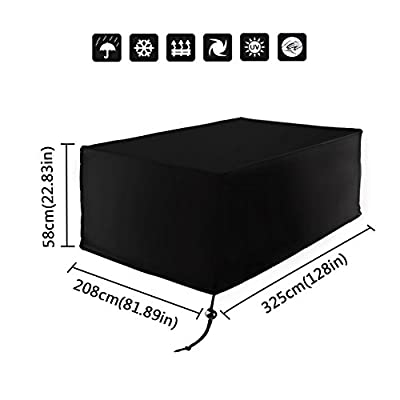 Xiliy Oxford Polyester Garden Cover Rectangular Waterproof Outdoor Patio Protection Cover for Table Furniture