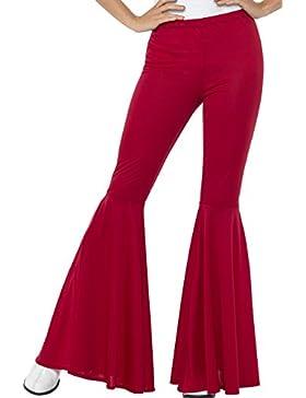 Smiffys Pantalones Acampanados, Rojo, para Mujer