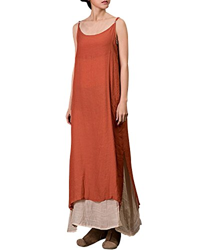 ZANZEA Femme Vintage Lin Sans Manches à Bretelle Tunique Lâce Large Longues Robe Casual Orange