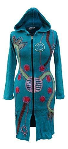 Shopoholic Fashion Femme Hippie Festival Long Goth Boho Veste À Capuche Turquoise