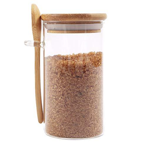 Ornami barattolo per alimenti in vetro con coperchio in bambù naturale e cucchiaio, piccolo contenitore ermetico trasparente per cucina, per zucchero, semi, sale, pepe, spezie, 0,3 l