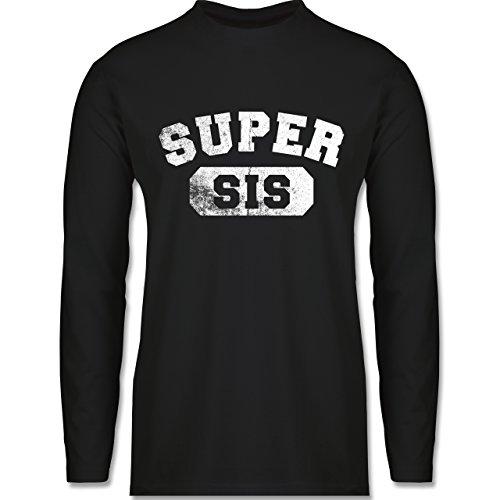 Shirtracer Statement Shirts - Super Sis - Vintage-&Collegestil - Herren Langarmshirt Schwarz
