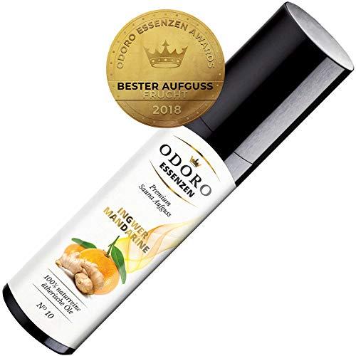 Saunaaufguss Ingwer Mandarine Premium Sauna-Öl (100ml) von Odoro Essenzen. 100% naturreine ätherische Öle mit natürlicher Orange u. Zitrone Duft im Aufguss-Mittel für fruchtige Sauna-Aufgüsse -
