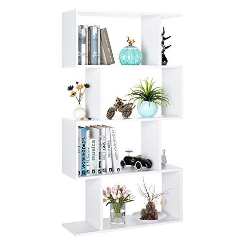 Homfa Bibliothèque Étagère Livres Étages de Rangement Forme S pour Bureau Salon (70x23.5x128cm)