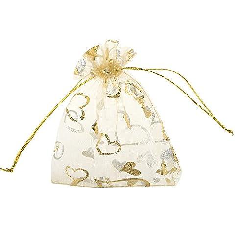Aspire Organza Jewelry Pouch, Bling Heart Gift Bag, 3-3/4 x 4-1/4 Inch (200 PCS)-Golden